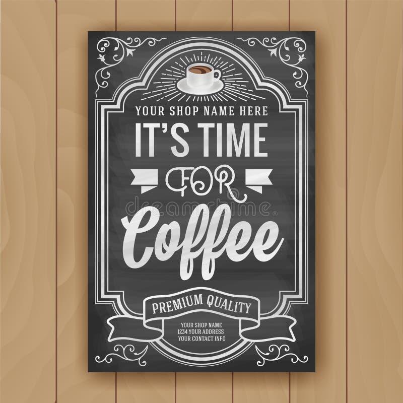 Kawowa wycena na chalkboard tle dla plakata i sklepu decorów royalty ilustracja