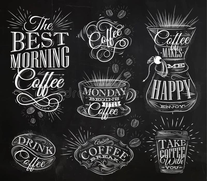 Kawowa znak kreda ilustracja wektor