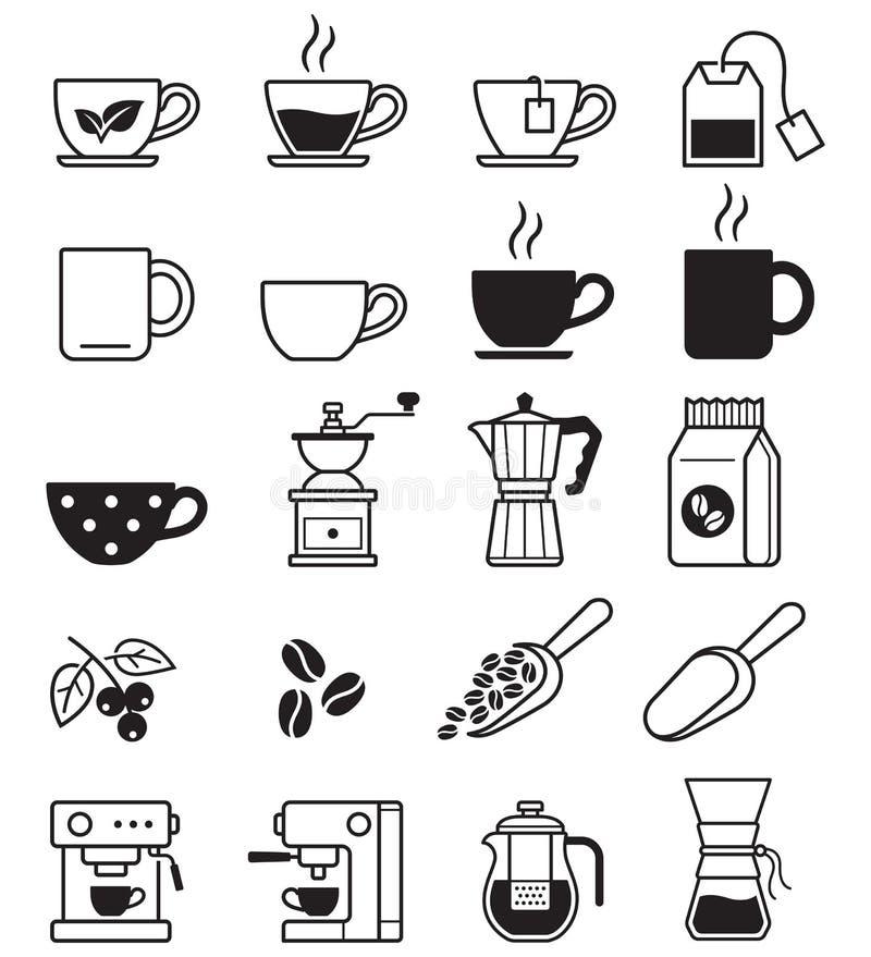 Kawowe czarne ikony ściągania ilustracj wizerunek przygotowywający wektor ilustracja wektor