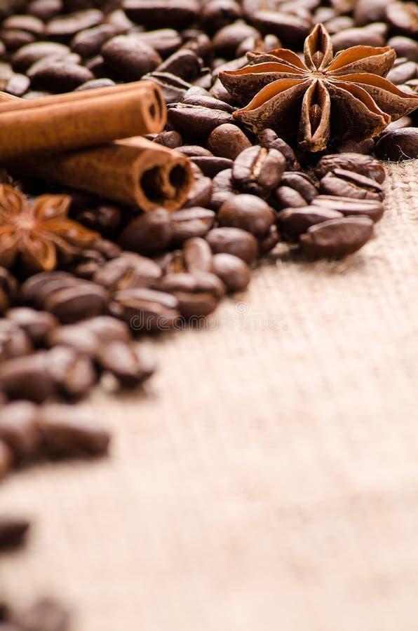 Kawowe fasole, cynamon i gwiazdy anyż na stole, zdjęcia royalty free