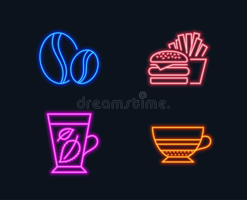 Kawowe fasole, hamburger i Nowych liści ikony, Mokka znak Cała fasola, Cheeseburger, Mentha liść filiżanka white royalty ilustracja