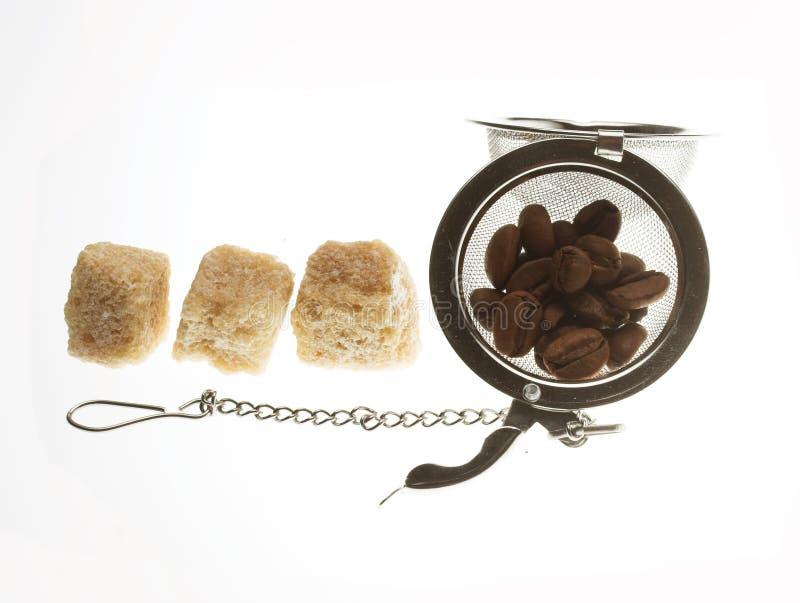 Kawowe fasole i cukier zdjęcie royalty free