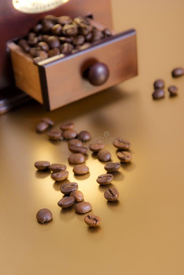 Kawowe fasole i kawowy ostrzarz zdjęcie royalty free