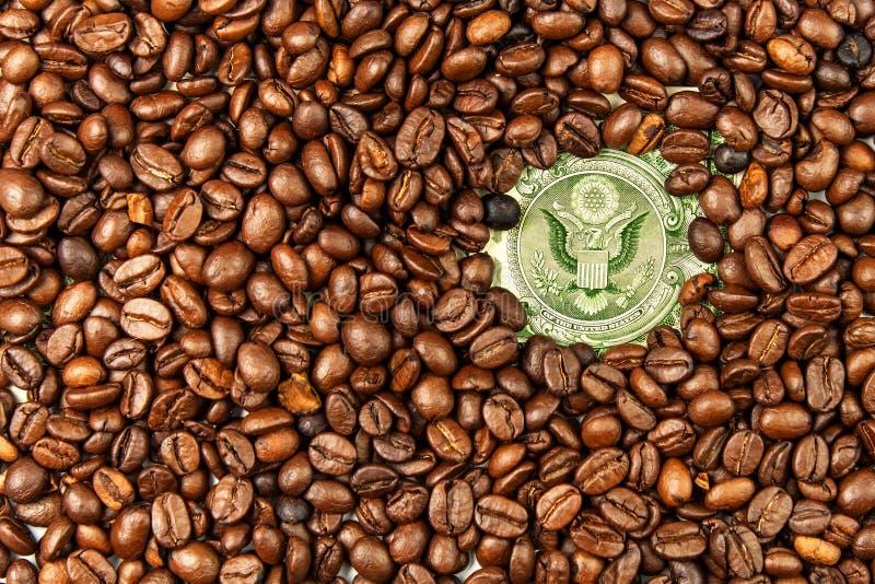 Kawowe fasole i pieniądze uczciwy handel Sprzedaż kawa Artykułu handel świeża kawa fasoli Dolarowy rachunek zdjęcia stock