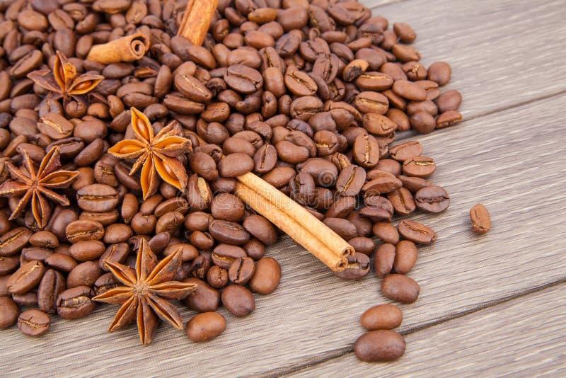 Kawowe fasole i pikantność zdjęcia royalty free