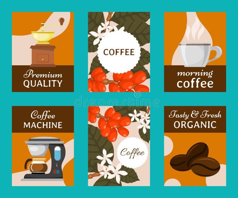 Kawowe fasole i wyposa?enie ustawiaj?cy karta wektoru ilustracja fili?anki opatrunkowy dziewczyny togi ranek biel kawa organiczni royalty ilustracja