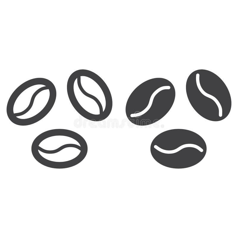 Kawowe fasole kreskowe, stała ikona, kontur i piktogram odizolowywający na bielu, wypełniający wektoru znaka, liniowego i pełnego royalty ilustracja