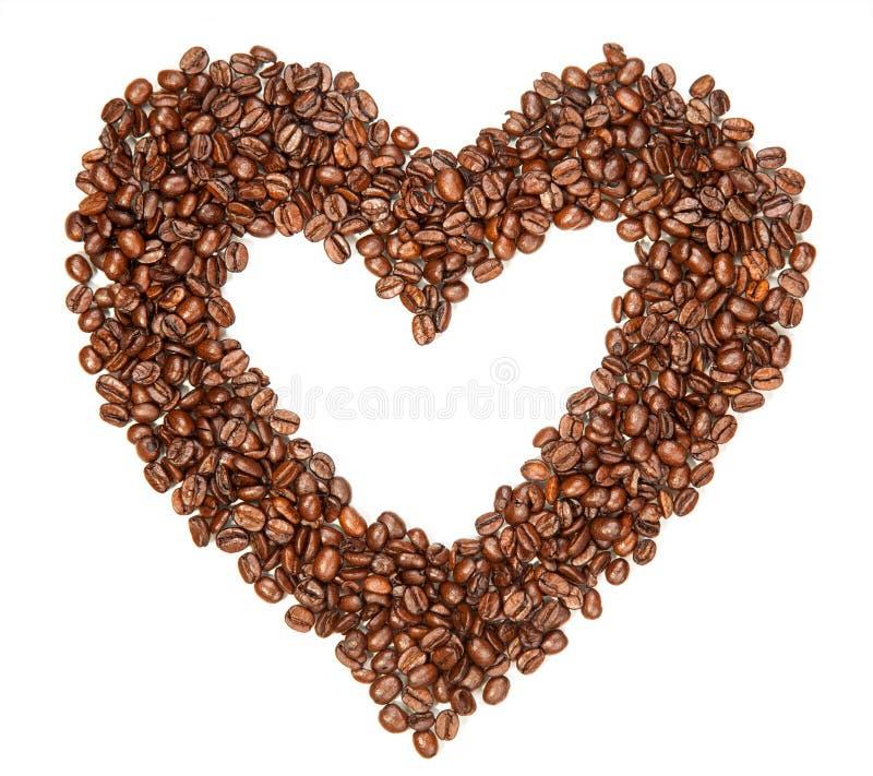 Kawowe fasole w kształcie hearth obraz royalty free
