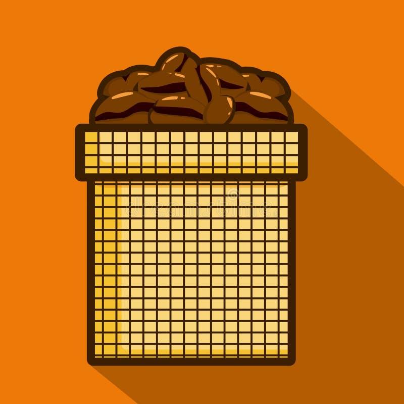 Kawowe fasole w worku lub torbie dla kawy Odizolowywaj?ca wektorowa ilustracja royalty ilustracja
