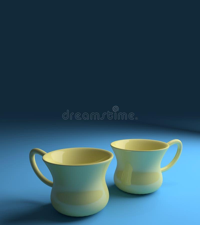 Kawowe herbaciane filiżanki ilustracja wektor