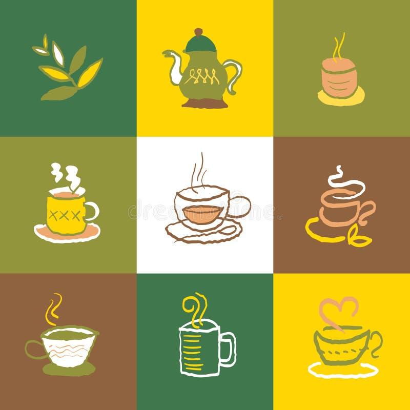 Kawowe i herbaciane ikony Ustawiają i znaki ilustracji
