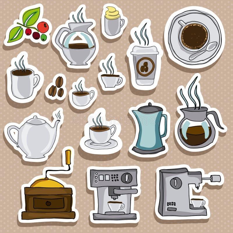 Kawowe ikony ilustracji