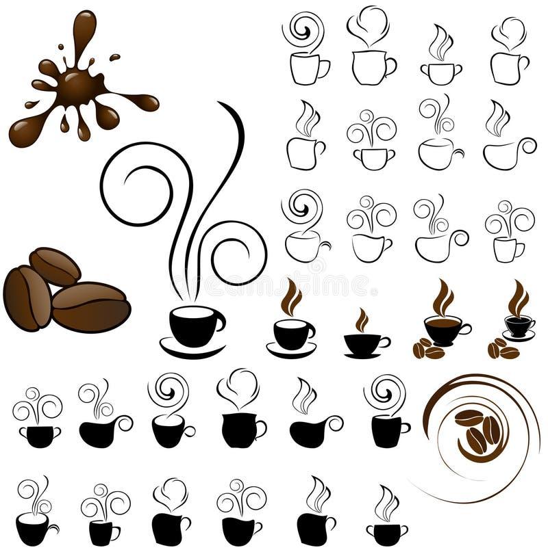 kawowe ikony royalty ilustracja