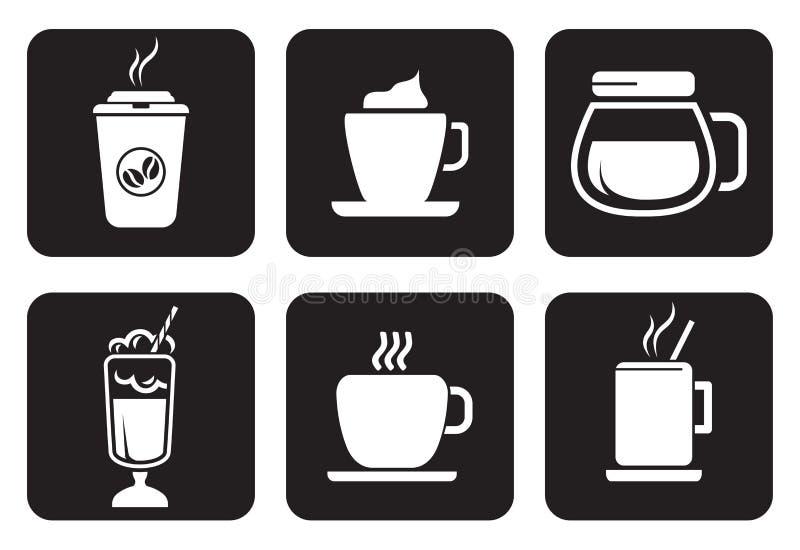 Kawowe ikony ustawiać royalty ilustracja