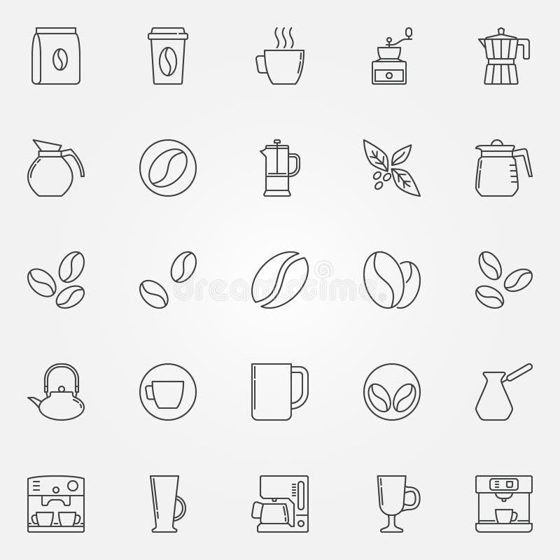 Kawowe ikony ustawiają - wektorowych symbole w cienkim kreskowym stylu ilustracji