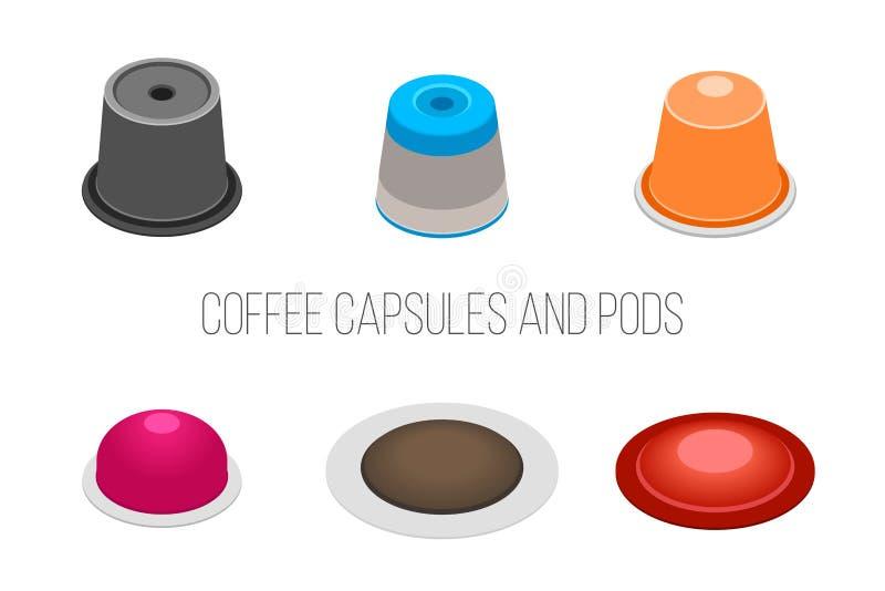 Kawowe kapsuły i strąki, wektorowa ilustracja ilustracja wektor