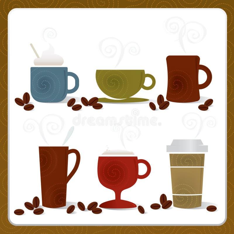 kawowe kolorowe filiżanki royalty ilustracja