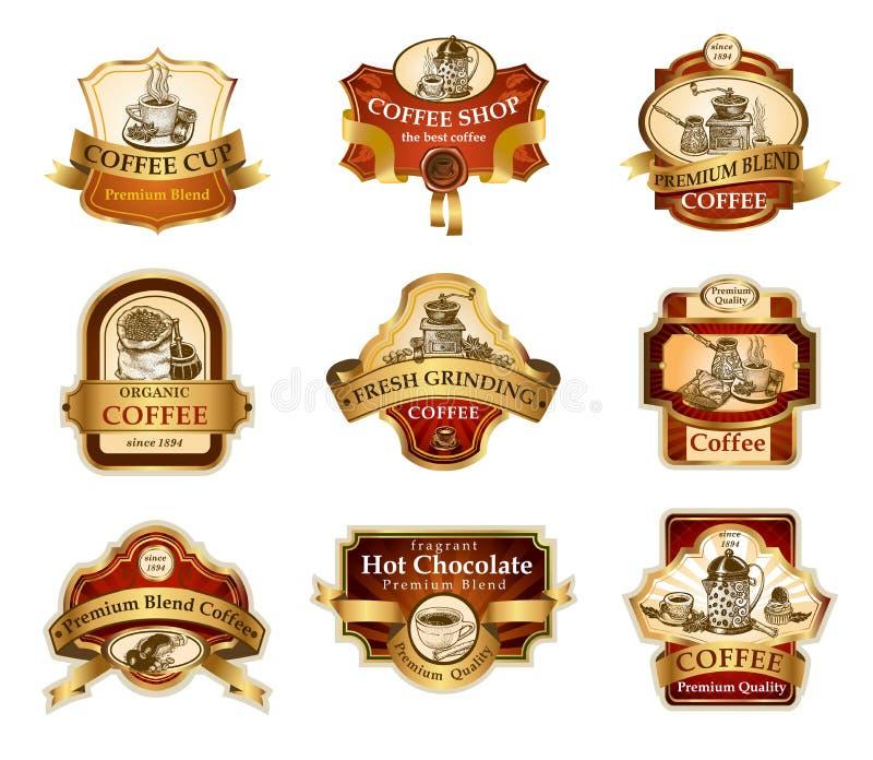 Kawowe ornamentacyjne etykietki ustawiać ilustracja wektor