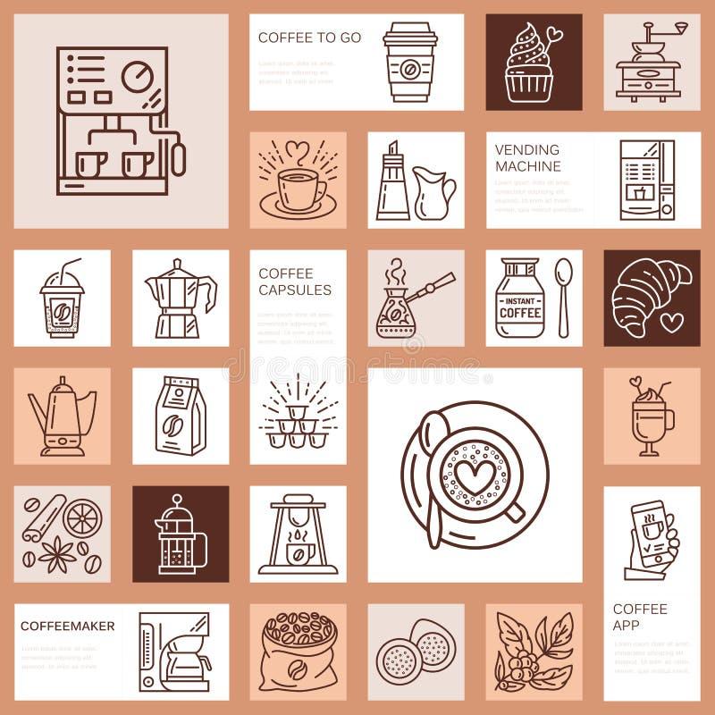 Kawowe robi wyposażenie wektoru linii ikony Narzędzia - moka garnek, francuz prasa, ostrzarz, kawa espresso, vending, roślina lin ilustracja wektor