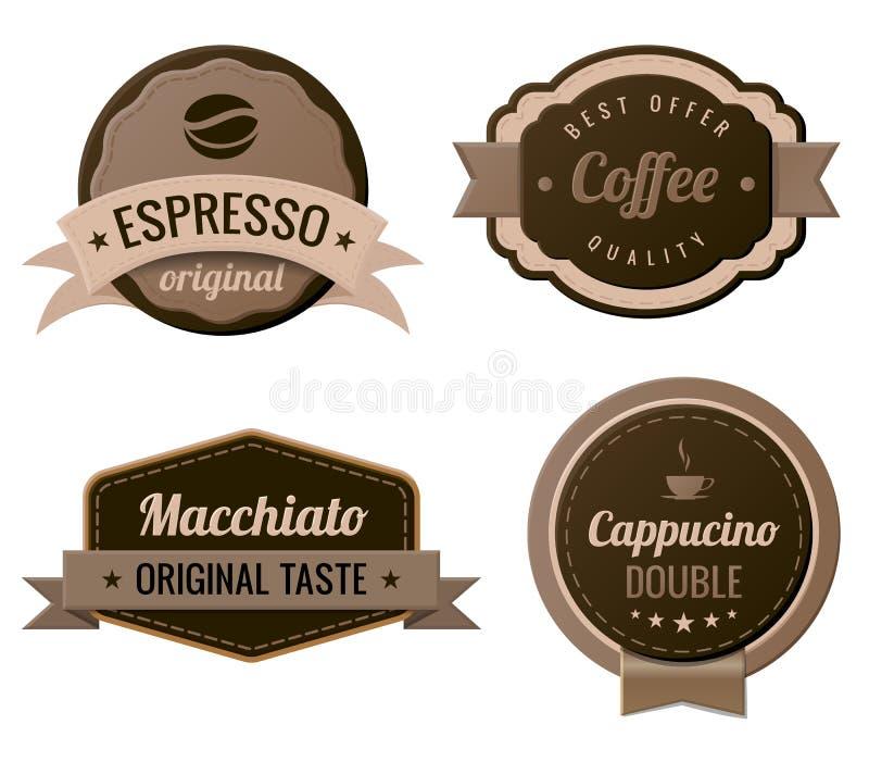 Kawowe rocznik etykietki ilustracja wektor