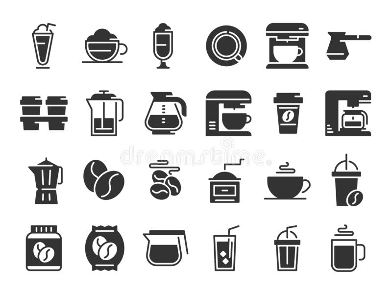 Kawowe sylwetek ikony Gorąca napój filiżanka, kawowa maszyna i fasola wektorowi piktogramy ustawiająca, ilustracji