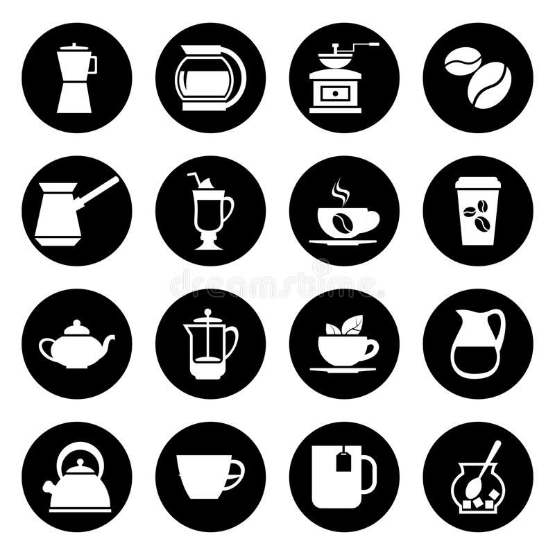 Kawowe wektorowe ikony ustawiać w czarny i biały ilustracji