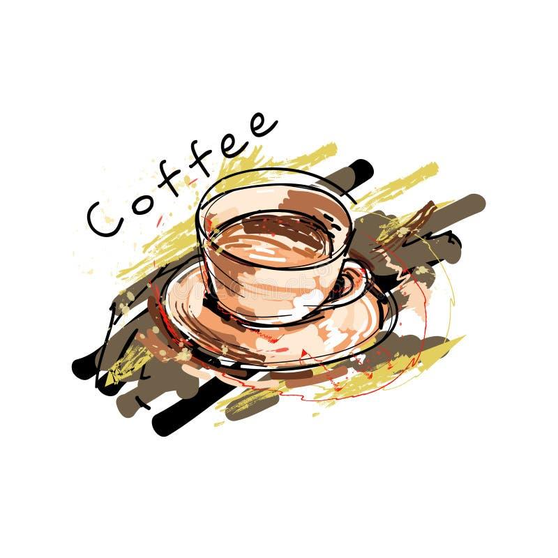 Kawowego czasu modnisia rocznika Stylizowany literowanie royalty ilustracja