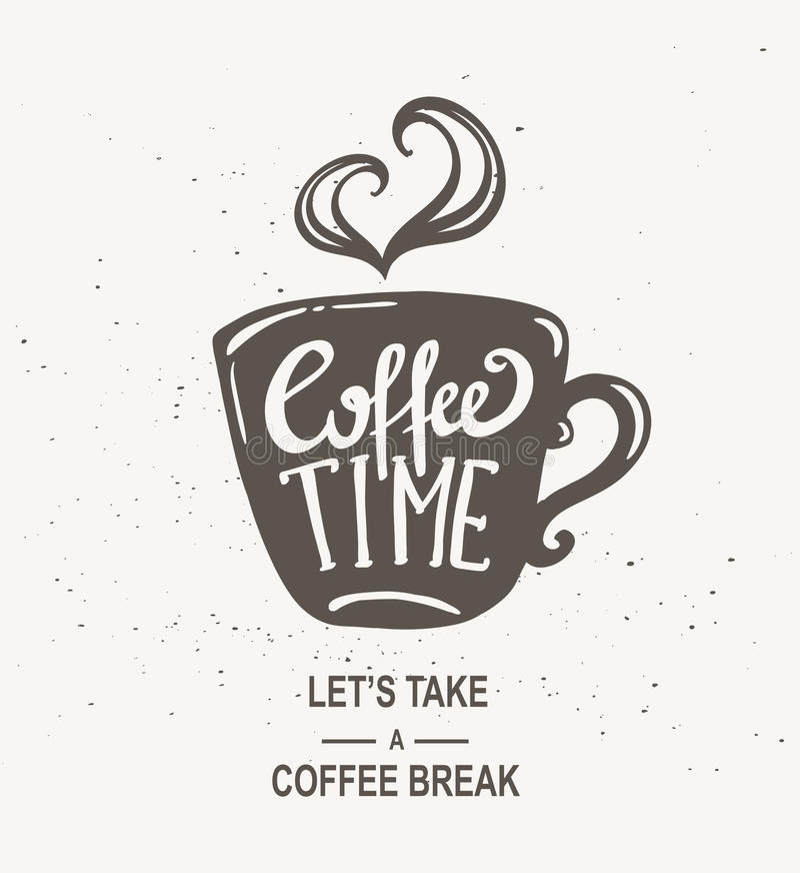 Kawowego czasu modnisia rocznika Stylizowany literowanie ilustracji