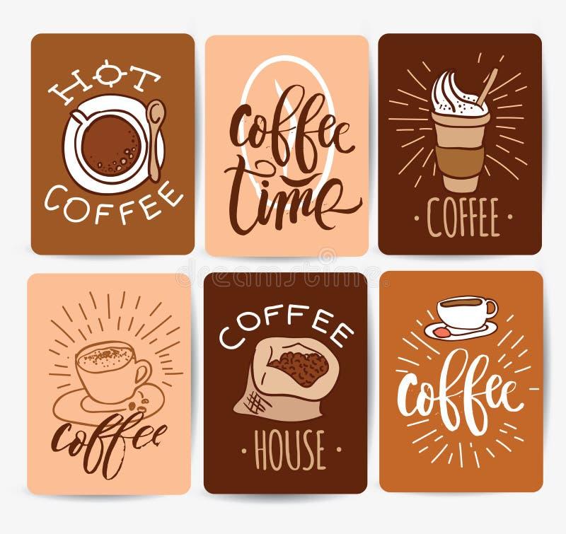 Kawowego czasu modnisia rocznika Stylizowany literowanie również zwrócić corel ilustracji wektora ilustracji