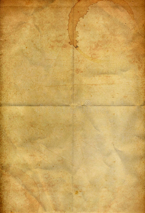 kawowego falcowania grunge stara papierowa plama obraz royalty free