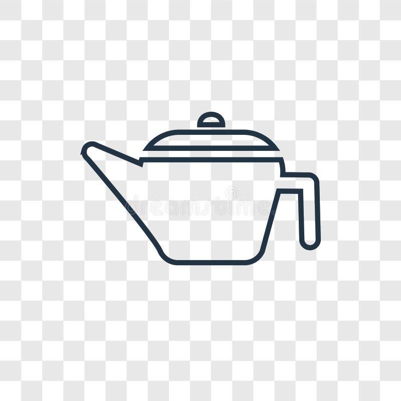 Kawowego garnka pojęcia wektorowa liniowa ikona odizolowywająca na przejrzystych półdupkach ilustracji