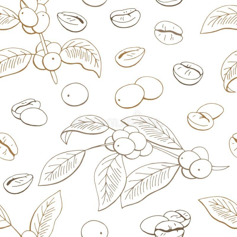 Kawowego graficznego koloru tła nakreślenia ilustracji bezszwowy deseniowy wektor ilustracji