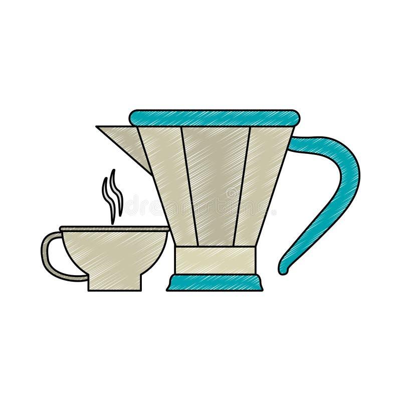 Kawowego i herbacianego czajnika skrobanina ilustracji