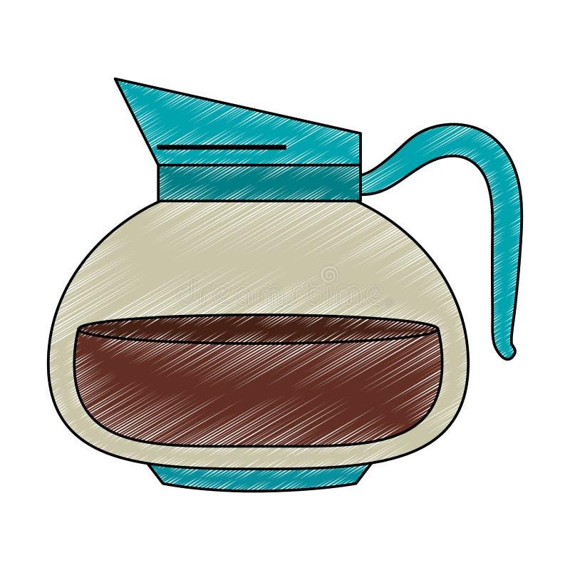 Kawowego i herbacianego czajnika skrobanina royalty ilustracja