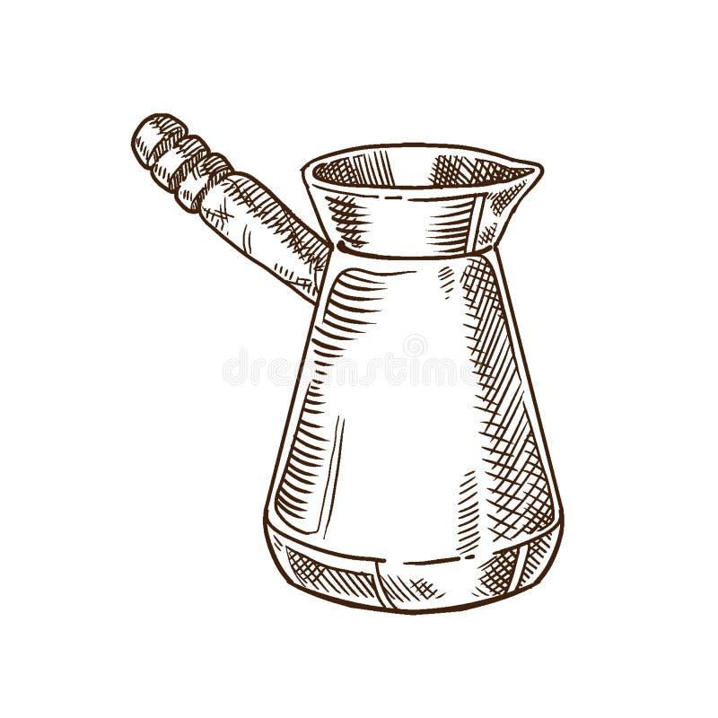 Kawowego i herbacianego przyjęcia pojęcie Tradycyjnego metalu kawowy garnek ilustracja wektor