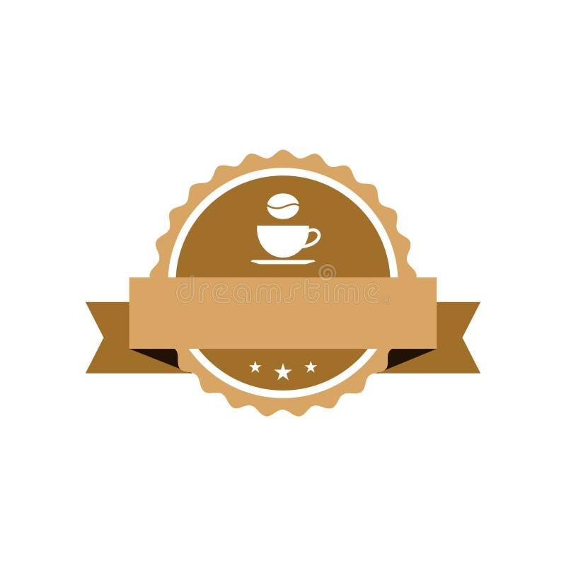 Kawowego kawiarnia sklepu emblemata majcheru Elegancki szablon royalty ilustracja