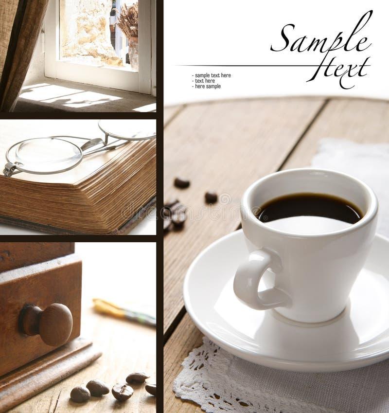 kawowego kolażu stary materiał zdjęcia stock