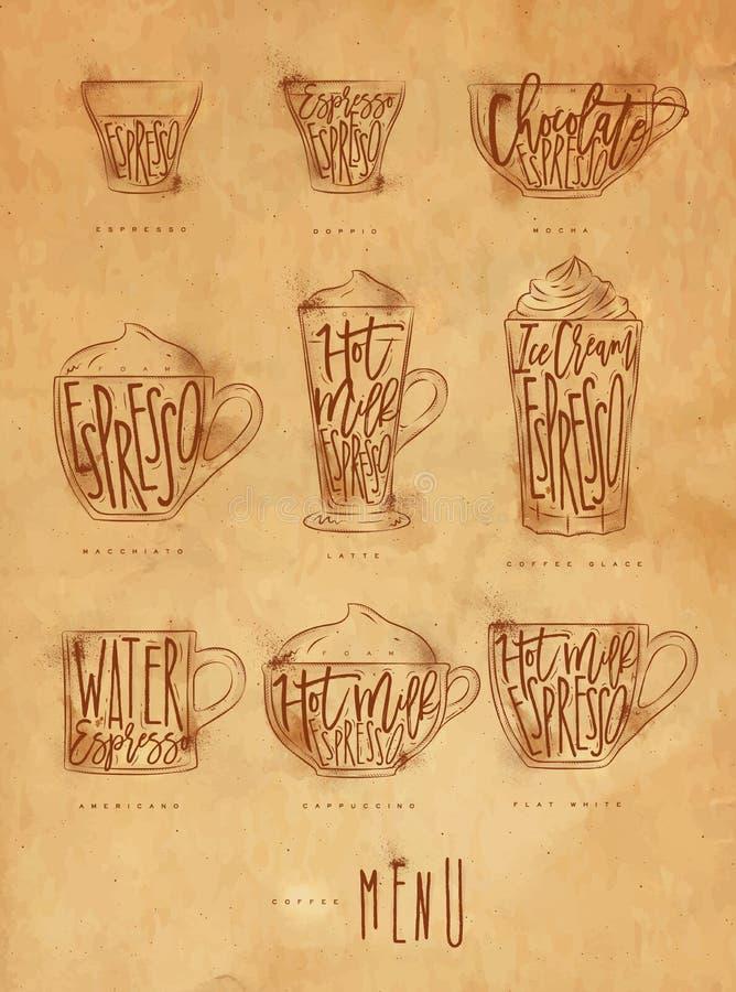 Kawowego menu graficzny rzemiosło ilustracja wektor