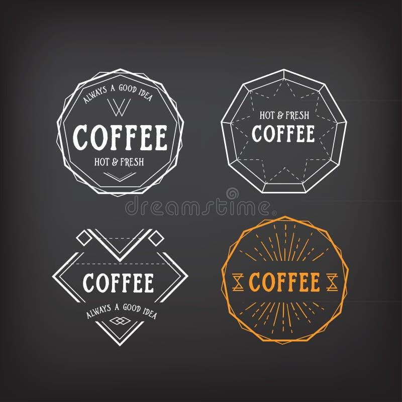 Kawowego menu loga szablonu rocznika geometryczna odznaka Wektorowy karmowy d ilustracji