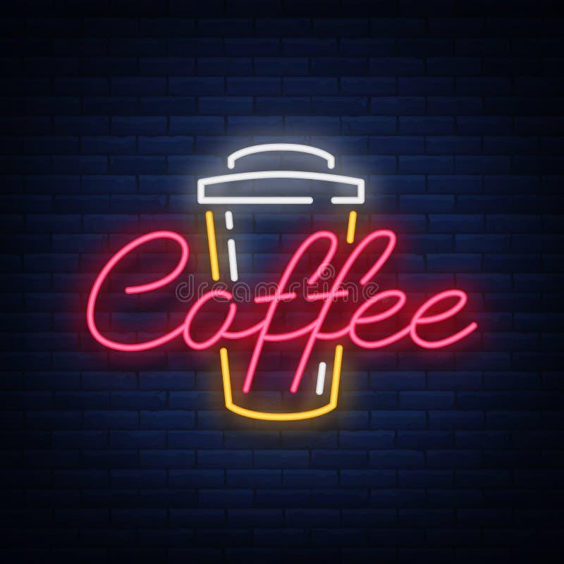 Kawowego neonowego znaka loga wektorowa ilustracja, emblemat w neonowym stylu, jaskrawy noc znak, nocy kawa reklama royalty ilustracja