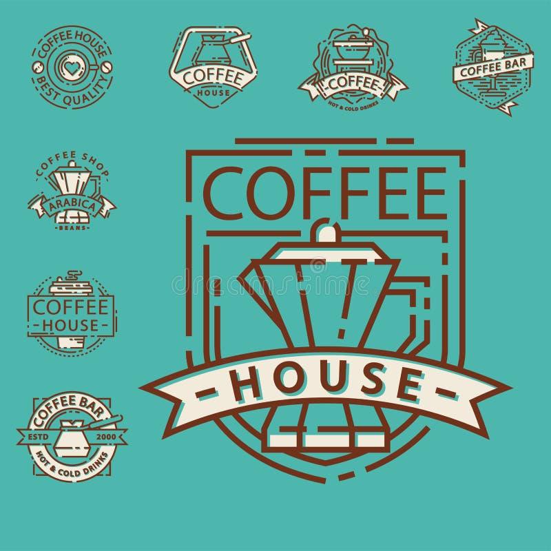 Kawowego odznaki jedzenia cienki kreskowy literowanie dla restauraci, cukiernianego menu kawy domu i sklepu majcheru wektoru, ilustracja wektor