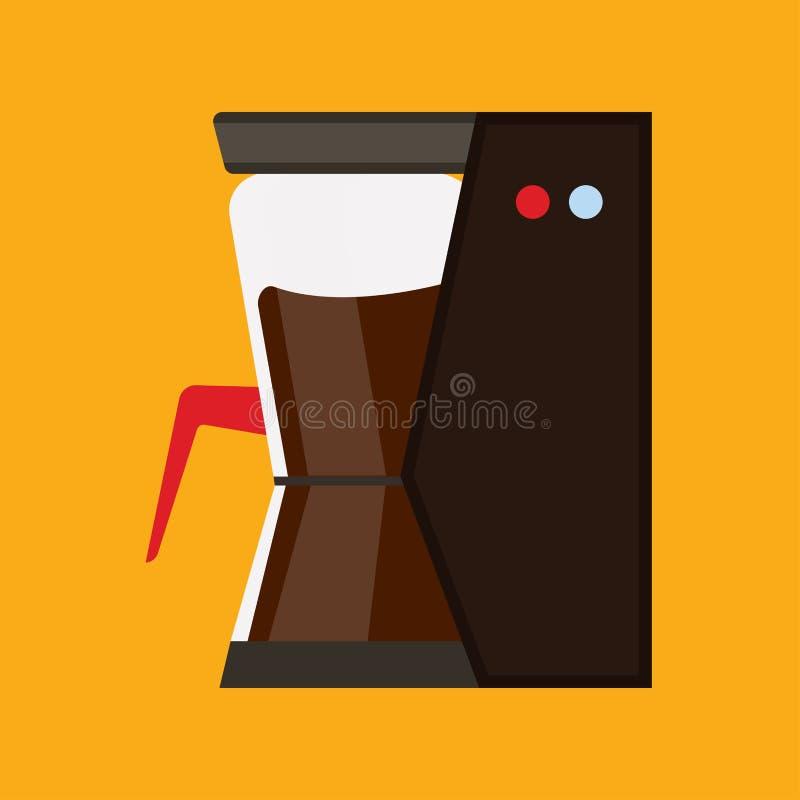 Kawowego producenta czerni wyposażenia urządzenia automatyczna maszyna Wektorowego ikona bufeta ostrzarza płaska fasola royalty ilustracja