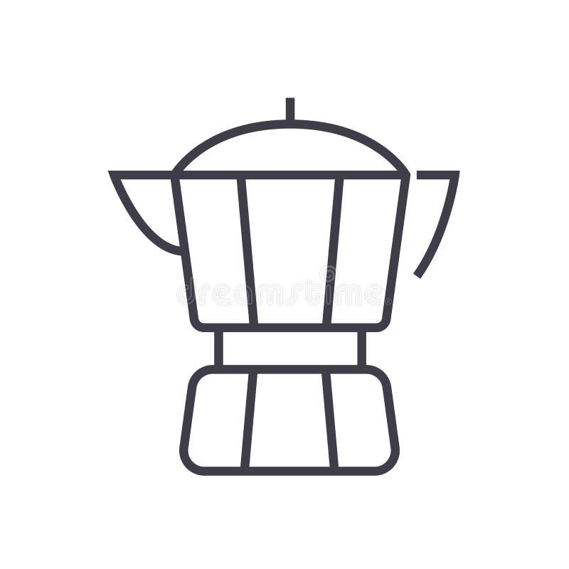 Kawowego producenta wektoru linii ikona, znak, ilustracja na tle, editable uderzenia ilustracji