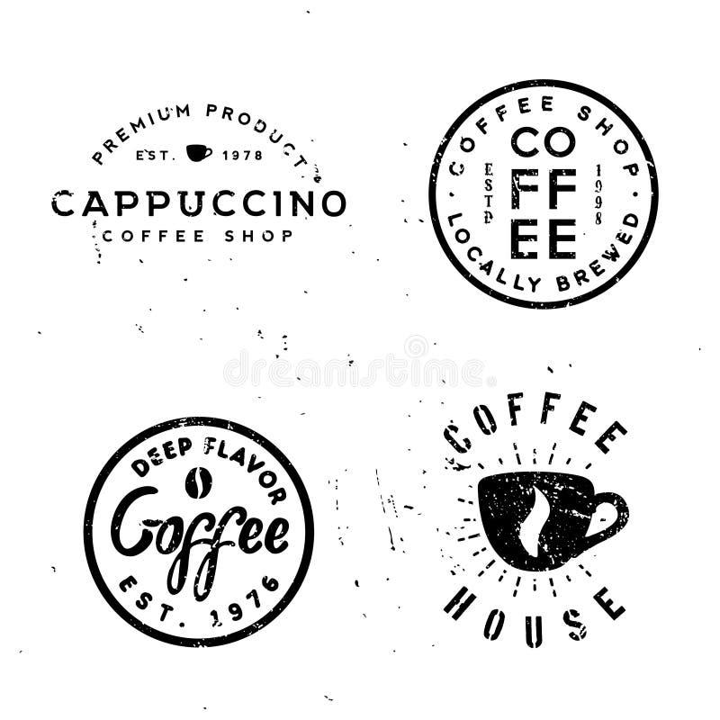Kawowego rocznika minimalne monochromatyczne odznaki, retro projektować etykietki ilustracja wektor