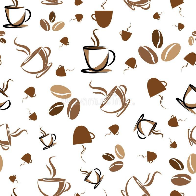Kawowego tła bezszwowa deseniowa ilustracja ilustracji