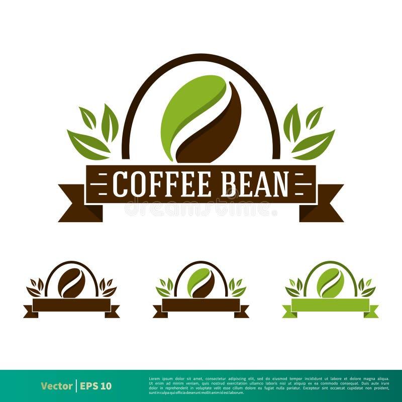 Kawowej fasoli emblemata ikony logo Ustalonego Wektorowego szablonu Ilustracyjny projekt Wektor EPS 10 ilustracji