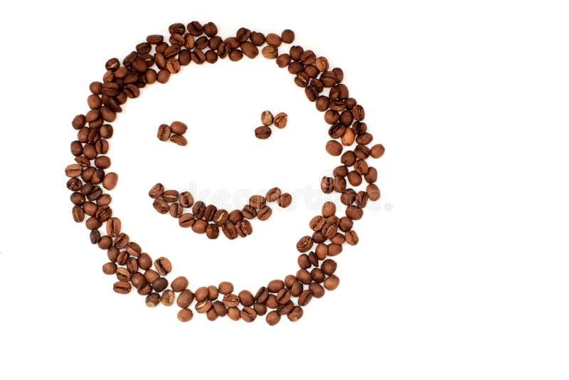 Kawowej fasoli twarz w górę odgórnego widoku dalej zdjęcie stock