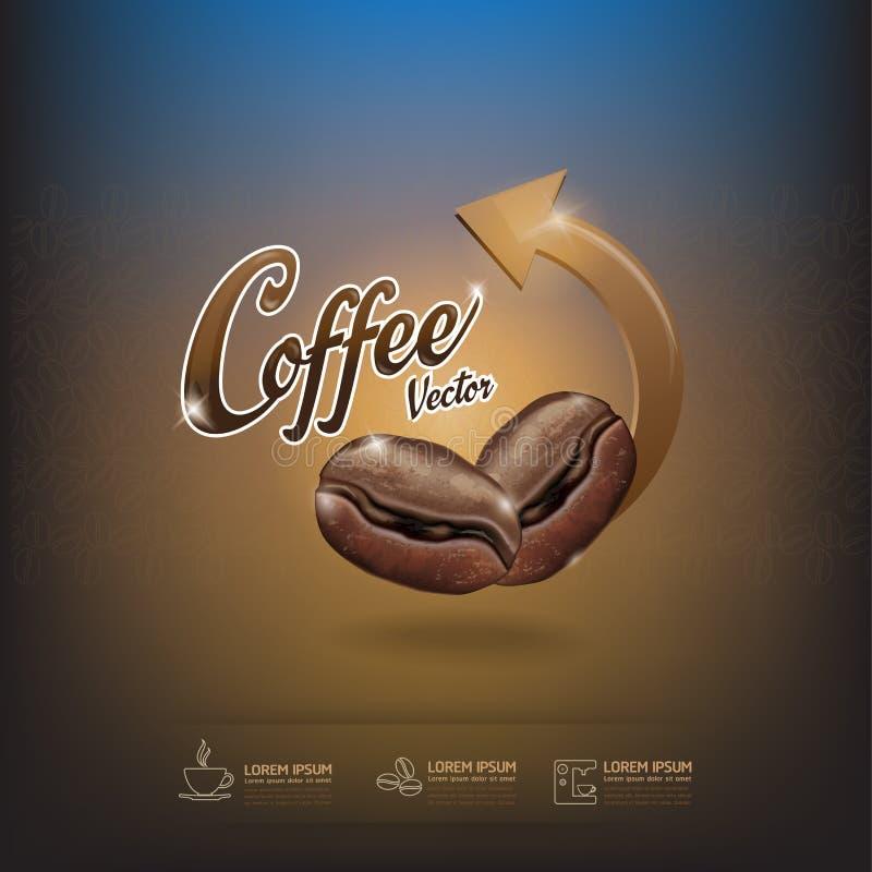 Kawowej fasoli wektoru szablon royalty ilustracja
