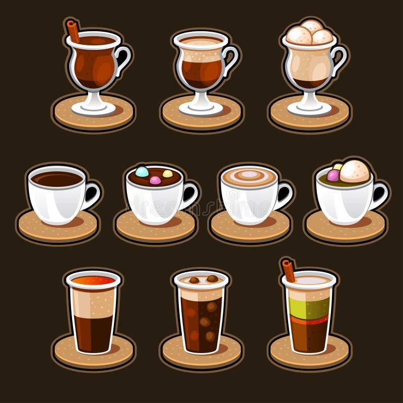 Kawowej i herbacianej filiżanki set. royalty ilustracja