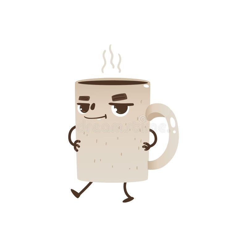 Kawowej lub herbacianej filiżanki postać z kreskówki taniec i ono uśmiecha się - radosny kubek z gorącym napojem i kontrparą ilustracji